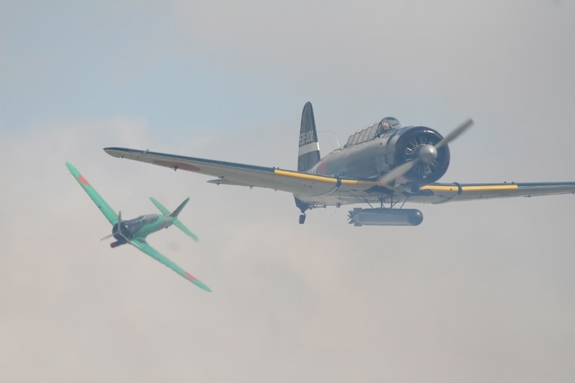 The Commemorative Air Force recreates the attack on Pearl Harbor at air shows around the country. The Tora group helps generations of individuals understand that war does not discrimintae in the pain in causes and courageous individuals on both sides lose their lives. (photo courtesy/Tora, Tora, Tora)