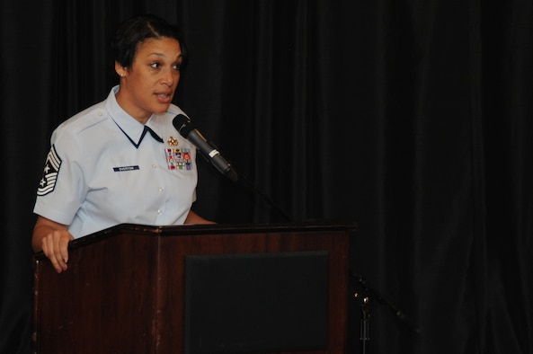 ANDERSEN AIR FORCE BASE, Guam - Chief Master Sergeant Margarita Overton, 36th Wing command chief speaks during the Women?s History Month luncheon at Top of The Rock, April 5. Chief Overton touched basis on her keeping it REAL policy, diversity of women within the military and her own experiences becoming a command chief.(U.S. Air Force photo/Senior Airman Carlin Leslie)