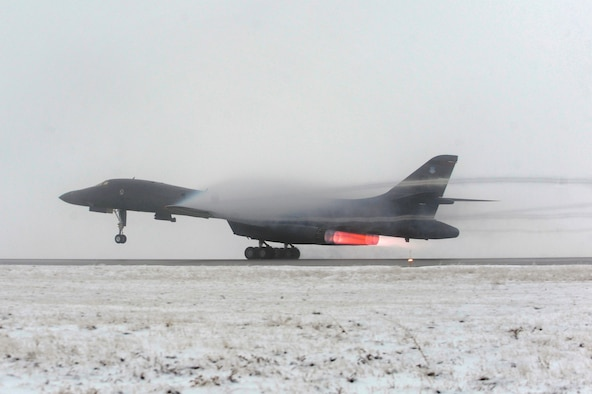 A B-1B Lancer takes off from Ellsworth Air Force Base, S.D., March 27, 2011, on a mission in support of Operation Odyssey Dawn. (U.S. Air Force photo/Staff Sgt. Marc I. Lane)