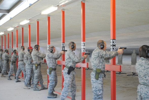 The new Maxwell Air Force Base firing range opened recently, featuring two bays with 42 firing points each, sound-reducing material and the ability to withstand higher-caliber ammunition. (Air Force photo/Christopher Kratzer)