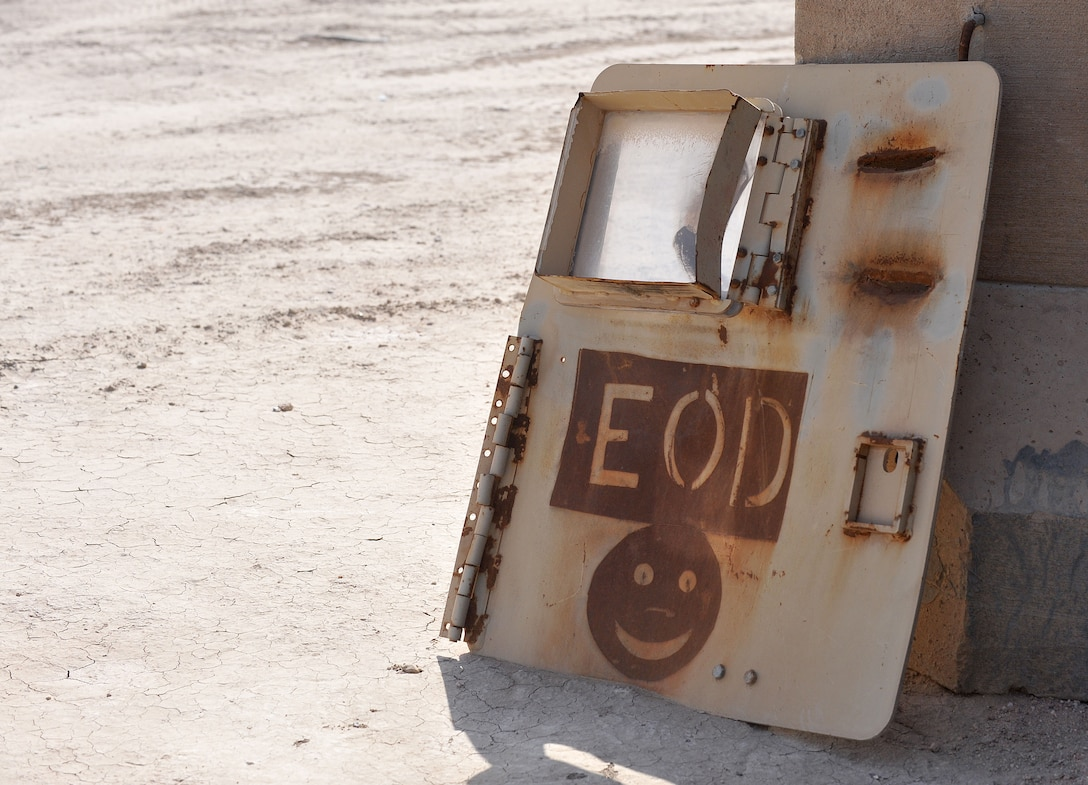 An explosive ordnance disposal logo is painted on an old vehicle door at one of the ranges at Ali Air Base, Iraq. (U.S. Air Force photo by Senior Airman Andrew Lee/Released)