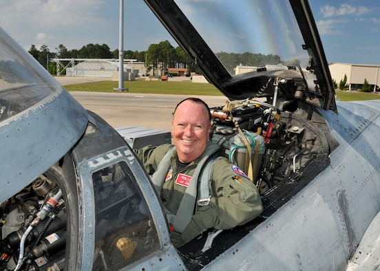 Major Joseph Keenan a flight surgeon with, the 104th Fighter Wing, Massachusetts Air National Guard shows his satisfaction following an incentive ride in an F-4 Phantom while deployed to Tyndall AFB Florida, in support of the Weapons System Evaluation Program (WSEP) on April 12, 2011. The two week training and evaluation program is important for ground crews to test their maintenance systems and processes while loading live munitions on F-15 Eagles, as well as critical live training for the F-15 pilots to employ air-to-air missiles against real world targets including unmanned F-4s.