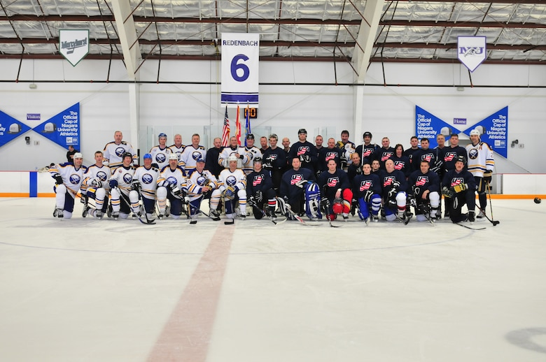 Buffalo Sabers?  Alumni against Niagara Falls Air Reserves Stations Team Niagara game on April 10, 20011. Member for both units 107th Airlift Wing and 914th Airlift Wing(Air Force Photo/TSgt Justin Huett)