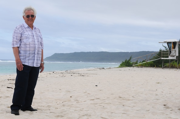 Eldred Pearson, an Air Force veteran, poses for a photo on Tarague Beach here during a visit April 11. Mr. Pearson was stationed here from 1954-1956, as part of the 3rd Aviation Support Depot working with munitions. (U.S. Air Force photo/Senior Airman Carlin Leslie)