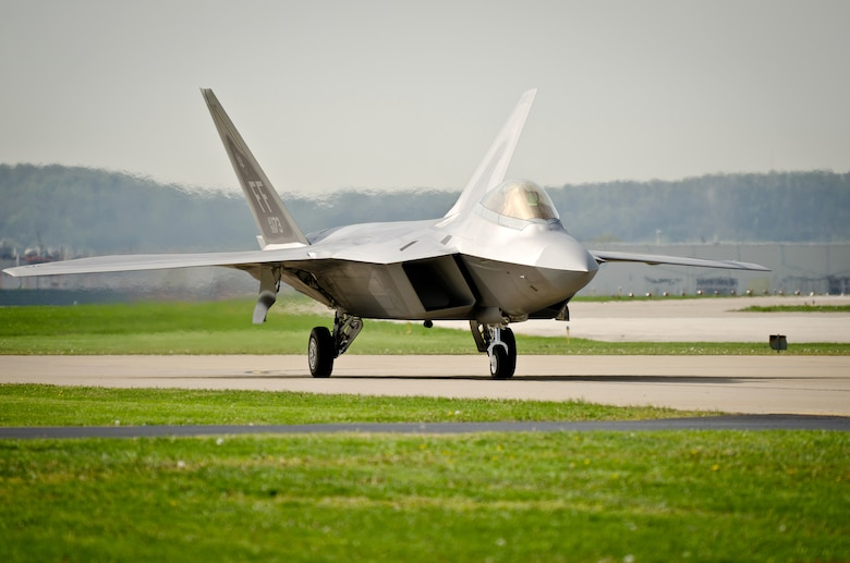 A U.S. Air Force F-22 Raptor taxies into the Kentucky Air National Guard Base in Louisville, Ky., on April 14, 2011, in preparation for the Thunder Over Louisville air show. The Raptors will be one of show?s marquee events when Thunder takes place over the Ohio River on April 16. Nearly 60 aircraft are expected to participate in Thunder. (U.S. Air Force photo by Maj. Dale Greer)