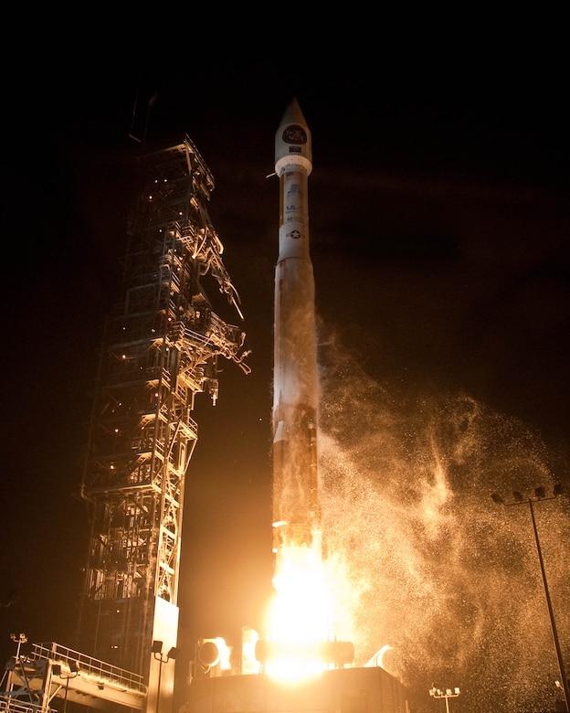 VANDENBERG AIR FORCE BASE, Calif. - Team Vandenberg launched an Atlas V from Space Launch Complex-3 here April 14 at 9:24 p.m. PDT. It was the fourth Atlas V processed at Vandenberg and the 605th overall Atlas mission in U.S. history. (Photo courtesy of the United Launch Alliance)