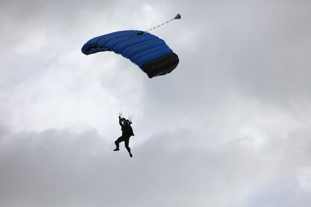 An instructor with the Marine Corps's Airborne Mobile Training Team, Training and Education Command, conducts a High Altitude, High Opening jump as part of a Double-Bag Static-Line parachute course in Wendover, Utah, April 9 - 21. The course was taught by personnel from the 2nd MSOB paraloft and the Airborne Mobile Training Team, and is designed to give Marines a basic understanding of HAHO operations.