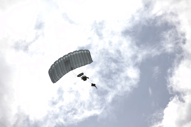 A Marine with 3rd Marine Special Operations Battalion, U.S. Marine Corps Forces, Special Operations Command, conducts a High Altitude, High Opening jump as part of a Double-Bag Static-Line parachute course in Wendover, Utah, April 9 - 21. The course was taught by personnel from the 2d MSOB paraloft and the Airborne Mobile Training Team, and is designed to give Marines a basic understanding of HAHO operations.