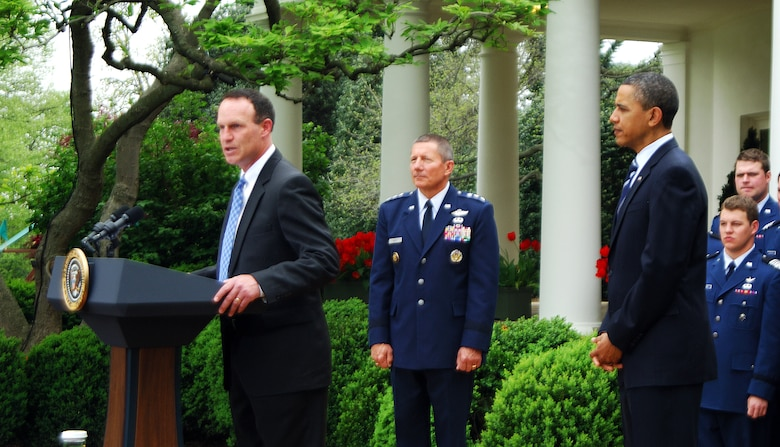 Football coach Troy Calhound addresses the crowd before President Barack Obama presented the 2010 Air Force Academy football team with the Commander-in-Chief's Trophy at the White House Monday, April 18, 2011.  This is the 17th time the Falcons have won the trophy and the first since 2002.  (U.S. Air Force photo/Staff Sgt. Raymond Hoy)