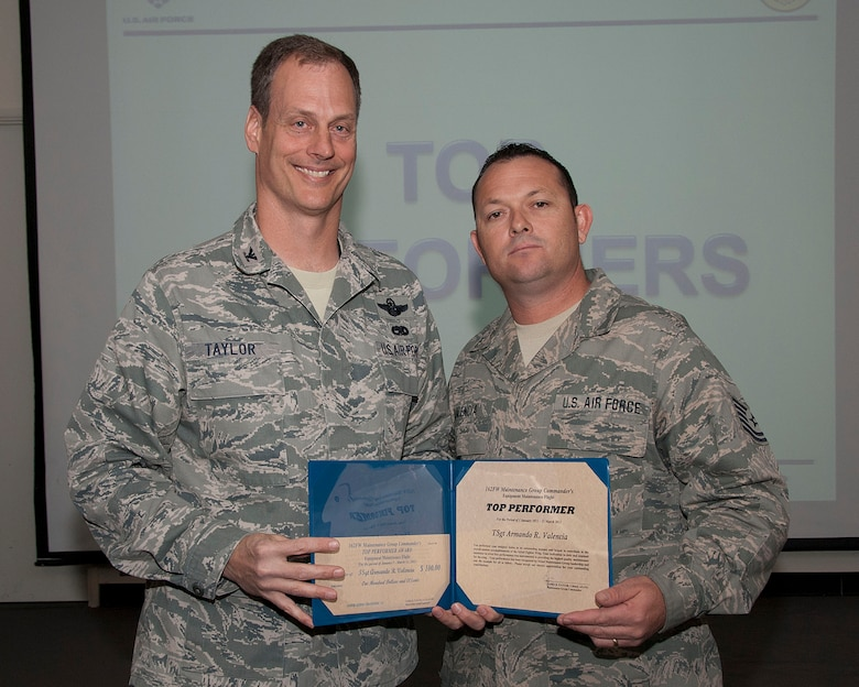 Col. James Taylor (left) presents Tech. Sgt. Armando R. Valencia the Top Performers Award for his work with the Equipment Maintenance Flight.  (U.S. Air Force photo/Master Sgt. David Neve)