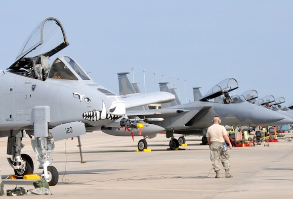 An A-10 Warthog sits on the ramp at Tyndall Air Force Base, Fla. alongside the 104th Fighter Wing's F-15s Eagles as they participate in Exercise COMBAT ARCHER, during the Weapons System Evaluation Program.  The exercise allows pilots and maintainers valuable training in the employment of live air-to-air munitions and tests the capabilities of the weapon systems. (photo by Master Sgt. Mark Fortin, 104th FW/PA)
