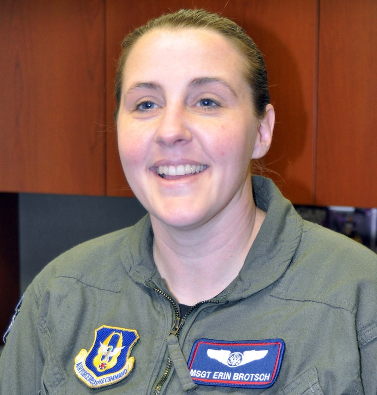 Master Sgt. Erin Brotsch, a boom operator for the 336th Air Refueling Squadron is from San Bernardino, Calif. and persuing a psycology degree and likes reading.  (U.S. Air Force photo/Linda Welz)