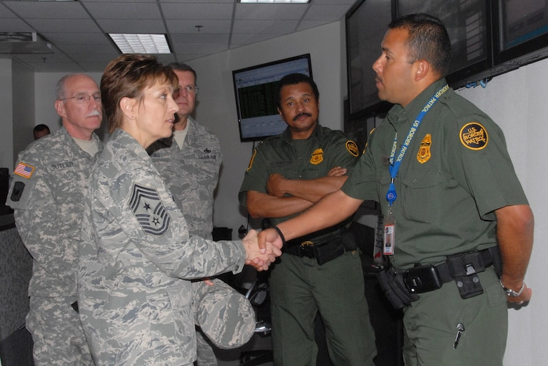 Chief Master Sgt. Denise Jelinski-Hall makes a stop at U.S. Customs and Border Patrol (CBP) April 1, as part of a two-day tour along the southern Arizona border. The tour included stops to other federal law enforcement agencies and entry identification team (EIT) sites. Each agency provided an in-depth look at border operations and contributions Arizona Guardsmen are making. (U.S. Air Force photo/Master Sgt. Desiree Twombly)