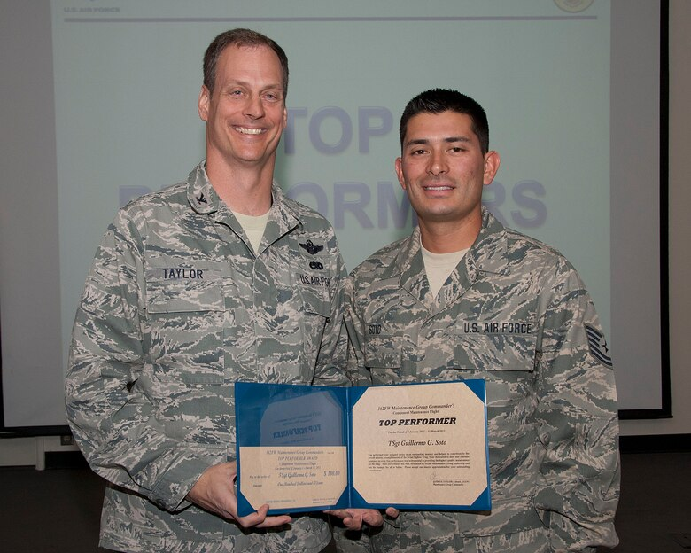 Col. James Taylor (left) presents Tech. Sgt. Guillermo G. Soto the Top Performers Award for his work with the Component Maintenance Flight.  (U.S. Air Force photo/Master Sgt. David Neve)