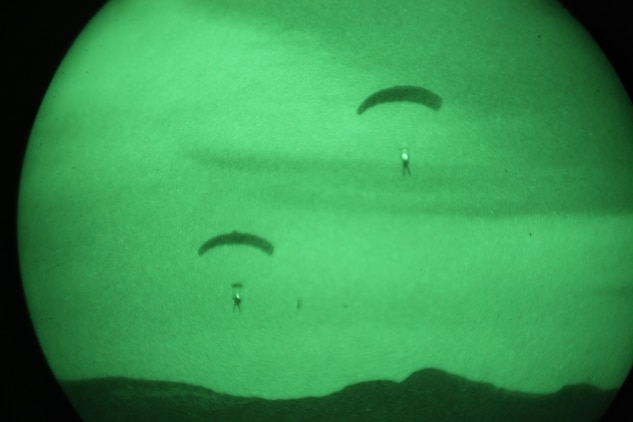 Marines with 3rd Marine Special Operations Battalion, U.S. Marine Corps Forces, Special Operations Command, conduct a High Altitude, High Opening jump at night as part of a Double-Bag Static-Line parachute course in Wendover, Utah, April 9 - 21. The course was taught by personnel from the 2nd MSOB paraloft and the Airborne Mobile Training Team, and is designed to give Marines a basic understanding of HAHO operations.