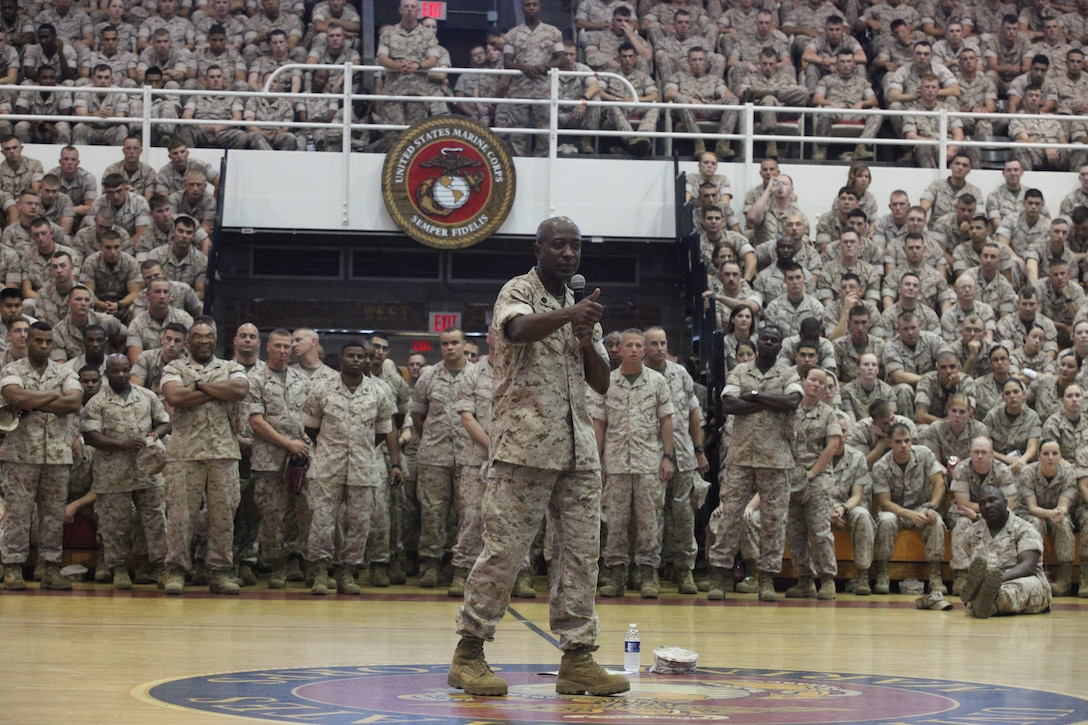 Sgt. Maj. Carlton Kent, 16th sergeant major of the Marine Corps, talks to more than 3,000 Marines at the Geottge Memorial Field House aboard Marine Corps Base Camp Lejeune, April 20. Camp Lejeune is just one of many stops he will be taking as he tours the country and talks to Marines for the last time as sergeant major of the Marine Corps.