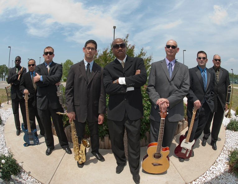 Eight members of the 531st Texas Air National Guard Band of the Gulf Coast, a Latin pop/rock group called 'Blue Hawk,' prepare to deploy to Southwest Asia this summer 2011. The band is providing troop morale and support throughout the Area of Operations in support of Enduring Freedom and New Dawn. (U.S. Air Force photo by Senior Master Sgt. Elizabeth Gilbert)