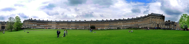 BATH, England – The Royal Crescent was designed by John Wood the Younger and built between 1764 and 1774. It is composed of 30 houses. Participants on a RAF Lakenheath Information, Tickets and Travel trip went on a walking tour of the City of Bath on April 16, 2011. The next trip to the city will be May 14, 2011. This panoramic view was made by merging four photos together. (U.S. Air Force photo illustration/Staff Sgt. Stephen Linch)