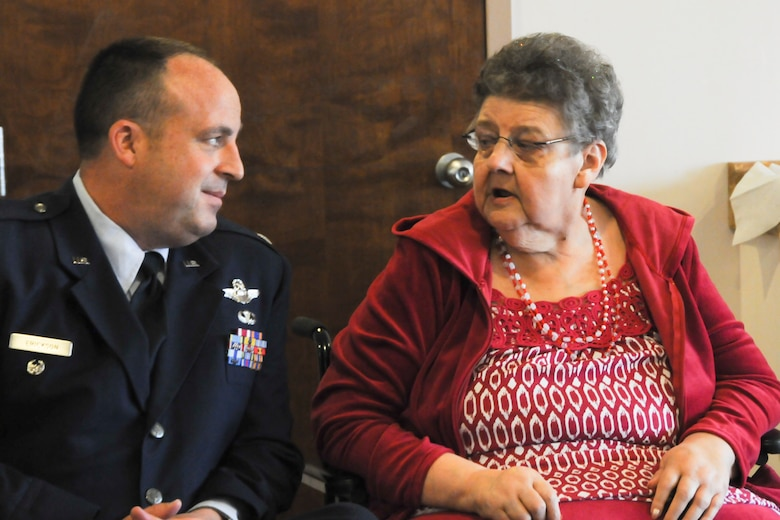 Lt. Col. Robert Erickson, State Director of Air Operations, talks with Mrs. Joannie Hollenbeek, one of the Rose Queen canidates, before the ceremony.  Members of the Oregon Air National Guard volunteered to help with the 2011 Rose Queen Corenation ceremony at Plum Ridge Marquis Care in Klamath Falls, Ore. April 8, 2011. (U.S. Air Force Photo by Tech.Sgt. Jennifer Shirar, RELEASED)