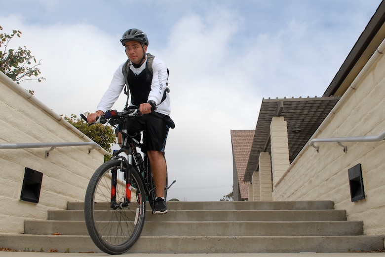 vandenberg air force base calif carefully riding down the stairs airman