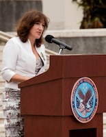 The Honorable Jane Coombs, deputy chief of mission for the New Zealand Embassy, gives the commemorative address during the 96th Annual Australian and New Zealand Army Corps Day Commemoration April 25 at the National Memorial Cemetery of the Pacific, here. ANZAC Day is observed in memory of the ANZACs who have died in the service of their country.