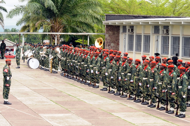 KINSHASA, Democratic Republic of the Congo ? Members of the Democratic Republic of the Congo?s military police force line up to prepare for a distinguished visitor entrance during the opening ceremonies for the MEDLITE 11 exercise, April 25, 2011. MEDLITE 11 is a joint medical exercise focused on aeromedical evacuation, to improve the readiness of U.S. Air Force and DRC personnel. (U.S. Air Force photo by Tech. Sgt. Todd Wivell)