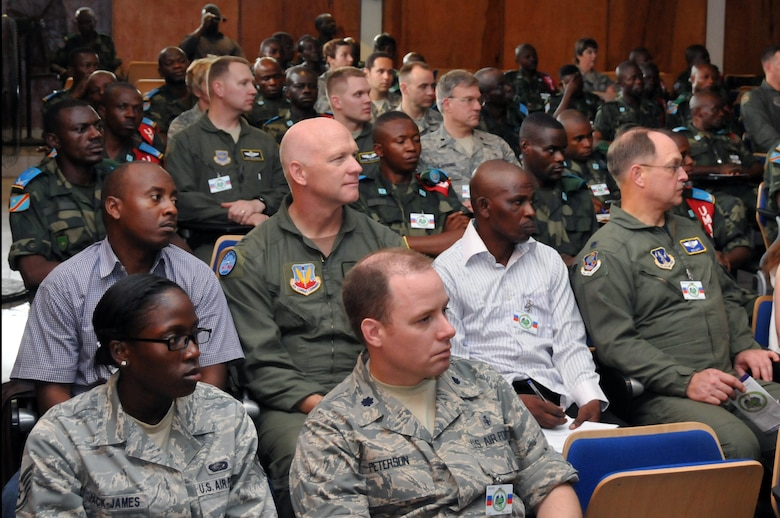 KINSHASA, Democratic Republic of the Congo ? U.S. Air Force and Democratic Republic of the Congo personnel attend the opening ceremonies for the MEDLITE 11 exercise, April 25, 2011. MEDLITE 11 is a joint medical exercise focused on aeromedical evacuation, to improve the readiness of U.S. Air Force and DRC personnel. (U.S. Air Force photo by Tech. Sgt. John Orrell)