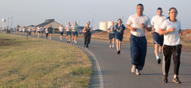 ALTUS AIR FORCE BASE, Okla. – Members of the 97th Air Mobility Wing run in the Earth Day 5K and 10K Fun Run April 22 to celebrate the 41 annual Earth Day. The Air Force joined millions of people around the world with its theme, Conserve Today – Secure Tomorrow, to reflect and build a more sustainable Air Force and world environment.   (U.S. Air Force photo by Kenneth Scarle/97th Air Mobility Wing Public Affairs)