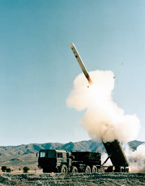 GLCM emerging from the Transporter-Erector Launcher (TEL) during a test firing. (U.S. AIr Force photo).