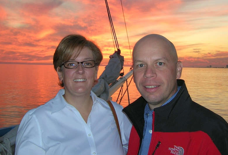 Colonel Downing and his wife, Vicki, enjoy a sunset sail on a Biloxi schooner hosted by the Biloxi Bay Chamber of Commerce.  Twelve other Keesler commanders participated in the Veterans Day event.  (Courtesy Photo)