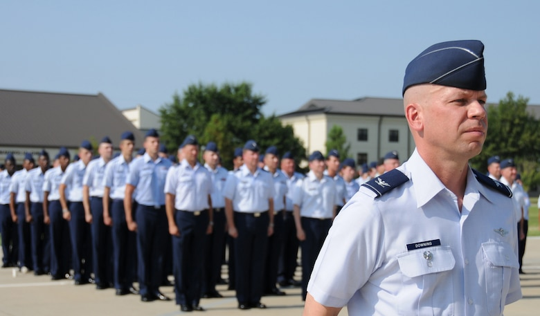 Colonel Downing stands at attention during the 81st TRW change of command ceremony Aug. 2.  (U.S. Air Force photo by Kemberly Groue)