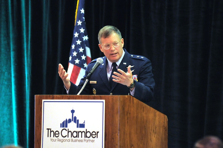 Maj. Gen. Richard Webber, 24th Air Force commander, speaks at the San Antonio Cyber Security Caucus Summit April 9. In one of his last public speaking engagements on active duty, he spoke to the audience about the maturing mission of 24th Air Force, and the intent to partner with academia and industry to meet U.S. Government needs in cyberspace. San Antonio is becoming a hub of cyber industry, academic research, and technology development. (Courtesy photo provided by The Greater San Antonio Chamber of Commerce)