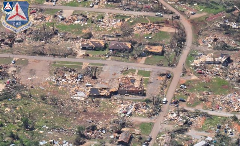 The Civil Air Patrol, flying as the Air Force Auxiliary, took this image in Tuscaloosa County in Alabama April 29. Tornadoes devastated the Southeast April 27, killing more than 300 people and causing extensive property damage. The AFAUX is flying in support of first responders and state and local officials as they assess the damage to the region. (Courtesy photo)