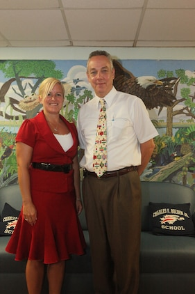 Current and former Bolden Elementary school principals, Wendy Randle and Chuck Yahres, pose for a photo in the school's lobby. Randle is the incoming principal and will spearhead the school's newest curriculum.::r::::n::::r::::n::::r::::n::