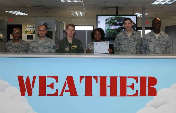 Tech. Sergeant Vernee White, 36th Operations Support Squadron, Weather Flight, noncommissioned officer in charge of Mission Weather was awarded Team Andersen's Best here, July 27.