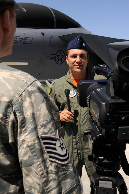 MOUNTAIN HOME AIR FORCE BASE, Idaho – Lt. Col. Paul Knapp, a weapons system officer (WSO), is interviewed by local media here July 29. Knapp, who was a WSO for tail number 173, was one of many Airmen honored during the ceremony. (U.S. Air Force photo by Senior Airman Angelina Drake)