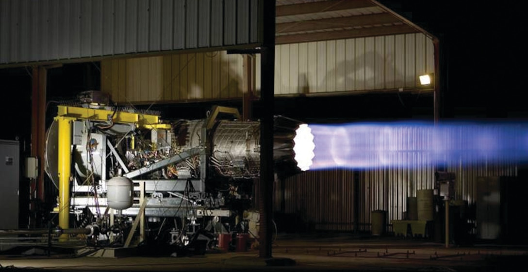 Pratt & Whitney's F135 engine for the F-35 Joint Strike Fighter at test. AFRL worked with Maverick Corporation of Blue Ash, Ohio, and Renegade Materials of Springboro, Ohio, which used internal funding for qualification of their materials, which have been approved for use in several F135 engine components.  (AFRL Image)