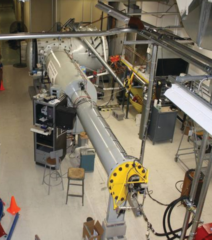 The supersonic rain erosion testing apparatus at AFRL's Coatings and Technology Integration Office simulates the impact of rain on aerospace systems traveling at transonic and supersonic speeds.   (AFRL Image)