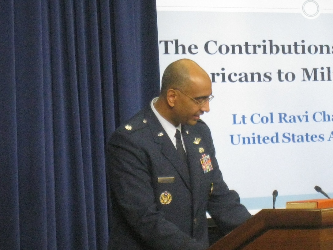 """Lt. Col. Ravi Chaudhary, 317th Recruiting Squadron commander, speaks at a White House Summit, July 29, honoring South Asian American military members. The summit, """"Impacting change in America and abroad,"""" focused on energizing the national service through goodwill and selflessness to the community. Several senior White House officials, Cabinet members, and members of Congress attended the event. (U.S. Air Force photo/courtesy photo)"""