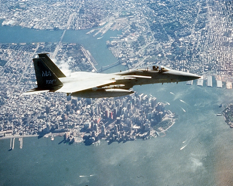 An F-15 flies over lower Manhattan and Ground Zero during an Operation Noble Eagle combat air patrol mission several months after the 9/11 attacks.