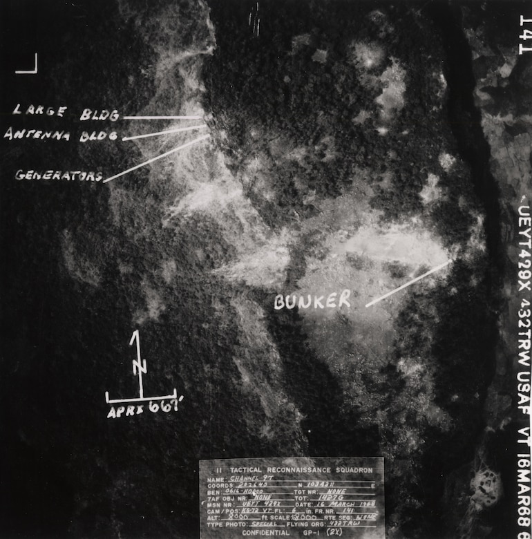 Reconnaissance photograph of LS 85 six days after it was overrun. (U.S. Air Force photo).