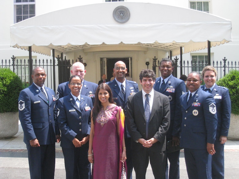 Members and spouses from the 317th Recruiting Squadron led the