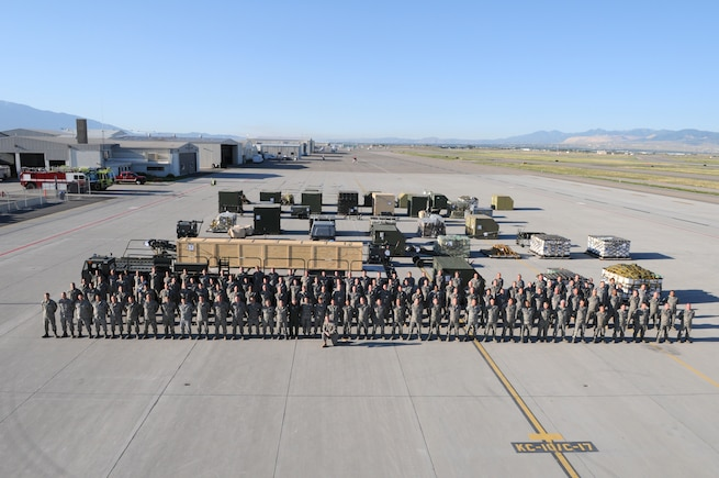 More than 160 Airmen and 100 short tons of cargo are positioned on the Utah Air National Guard Base flightline August 7 as part of Exercise Double Whammy.  The exercise tested the wing's ability to process and deploy personnel and cargo in the event of an attack on the homeland.  (U.S. Air Force photo by TSgt. Kelly Collett)