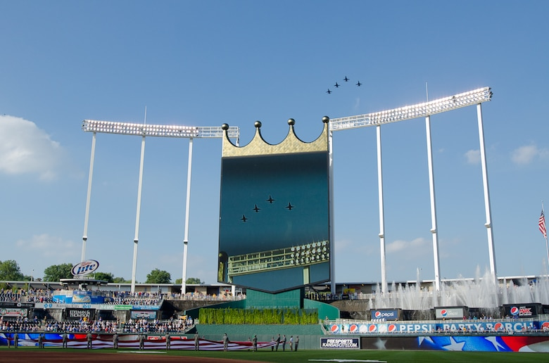 U.S. Air Force T-38 trainers fly over Kauffman Stadium during The National Anthem on Aug. 6, 2011 in Kansas City Mo. The Kansas City Royals hosted Armed Forces Day to honor all veterans of the military. (U.S. Air Force photo by Senior Airman Sheldon Thompson)