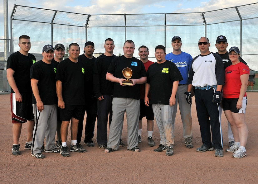 RAF MILDENHALL, England -- Members of the 488th Intelligence and 95th Reconnaissance Squadrons' softball team pose with their trophy after winning the Team Mildenhall Intramural Softball Championship here Aug. 9, 2011.  The 488th IS/95th RS softball team played the 352nd Special Operations Group with a final score of 20-8.  (U.S. Air Force photo/Staff Sgt. Tabitha M. Lee)