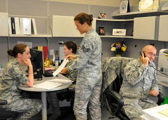 Members of the 46th Operations Group unit control center practice operational security procedures Aug. 11 at Eglin Air Force Base, Fla.  (U.S. Air Force photo/Ralph Milone)