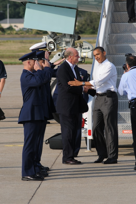 President Barack Obama visits Air Station Cape Cod on the way to Martha's Vineyard for his presidential vacation. (U.S Air Force Photo by Tech.Sgt. Jeffery Foster)