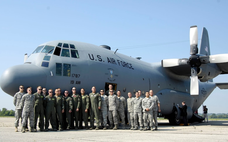 DAYTON, Ohio -- The C-130E SPARE 617 arrives at the National Museum of the U.S. Air Force after its final flight on Aug. 18, 2011. Not only is this C-130E (S/N 62-1787) representative of all C-130 transport aircraft, it also performed courageous work during the Southeast Asia War. Two members of its crew – Capt. William Caldwell, pilot, and Tech. Sgt. Charlie Shaub, loadmaster – were awarded Air Force Crosses, the U.S. Air Force's second highest award for valor, for their heroic actions during the siege of An Loc in 1972. (U.S. Air Force photo by Michelle Gigante)
