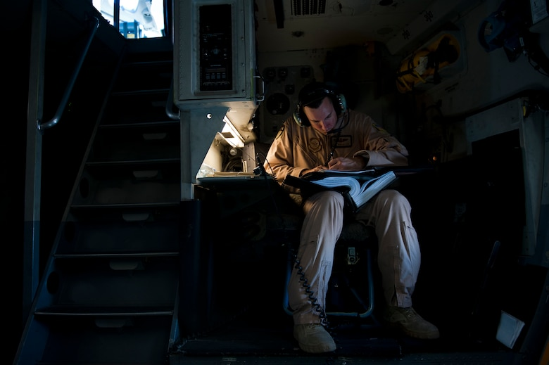 Staff Sgt. Sean Sullivan, an 817th Expeditionary Airlift Squadron loadmaster, annotates mechanical discrepancies onboard a C-17 Globemaster III aircraft Aug. 18, 2011, while flying over Afghanistan. The crew transported equipment and supplies from Incirlik Air Base, Turkey, to Kandahar Air Field, Afghanistan. (U.S. Air Force photo by Tech. Sgt. Michael B. Keller/Released)