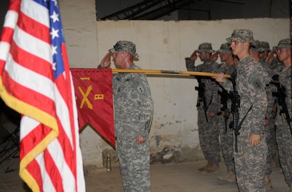 BAGHDAD—First Sgt. Michael Deatherage, left, first sergeant of Battery B,